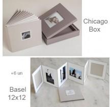 Chicago Box Cinza Quente + 6 Basel 12x12 com paspaturs